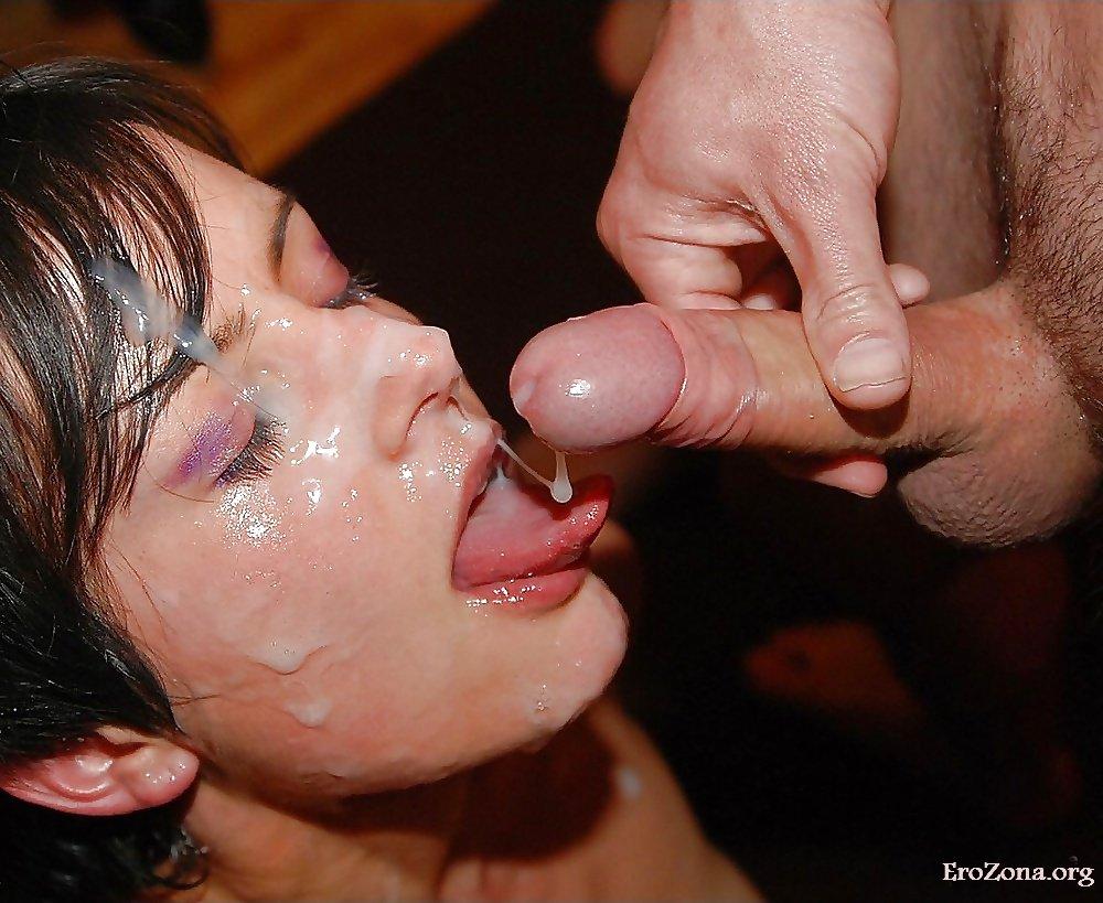 Камшот и сперма на лице — фото