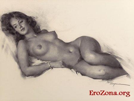 рисованные карандашом эротические картинки голых женщин